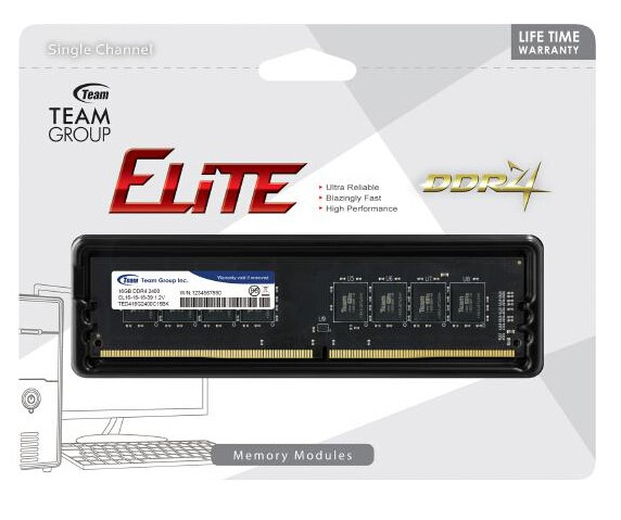 Memória Team Group Elite 8Gb DDR4 2400Mhz TED48G2400C1601